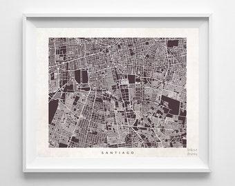 Santiago Map, Chile Print, Santiago Poster, Chile Art, Artwork Sale, Dorm Decor, Giclee, Home Decor, Playroom Wall Art, Back To School