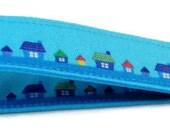 Turquoise homes fabric key fob, fabric key holder, key fob, fabric key fob, bracelet key ring, home sweet home key fob, new home present