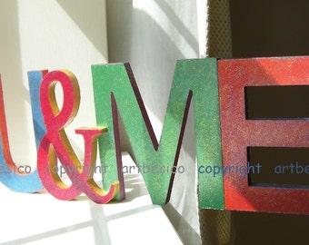 Wooden letters sign, U&ME