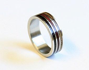 Titanium ring with three types of wood inlay