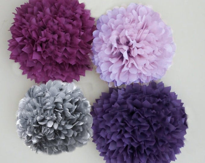 Purple, Lilac, Plum, and Grey Tissue Paper Pom Poms | 4 Piece Set | Weddings | Bridal Shower | Birthday | Nursery | Party Decorations