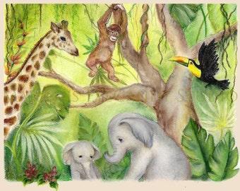 Wild Animals Art Print, Animal Painting, Jungle Animals, Orangutan, Toucan, Giraffe, Elephant Jungle Painting, Nursery Art, Baby Shower