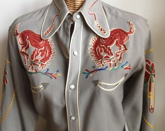 Vintage Embroidered Frontex Model Western rodeo shirt- featured in  Western Shirt anthology