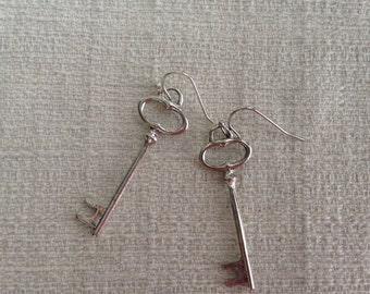 Antiqued Silver Skeleton Key Earrings
