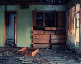 Abandoned - deserted, destroyed, drawers, curtains, light, interior, photography, wall art