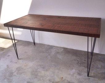 Reclaimed wood desk w/ hairpin legs