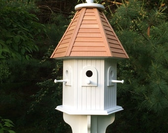 Large outdoor Hexagon Birdhouse with hand cut cedar clapboard roof - White