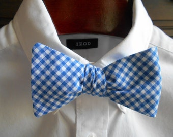 Bow Tie - Washington and Lee Blue Gingham  - Men's self tie