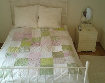 Single & TV Photo Quilt Customized - Soft Pink and Green Colors