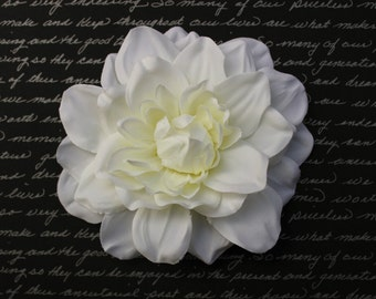 Ivory / white Big  Dahlia Bridal flower hair accessories or brooch