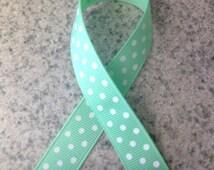 "5/8"" Fashion Polka Dot Grosgrain Ribbon - Mint Green w/ White Dots -   Ribbon by the yard - 100% Polyester - Made in USA"