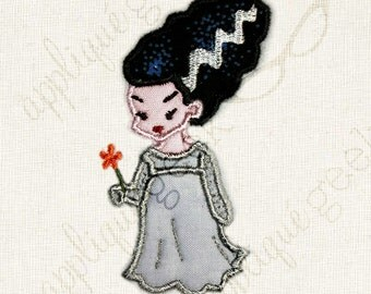 Bride of Frankenstein Applique Embroidery Design