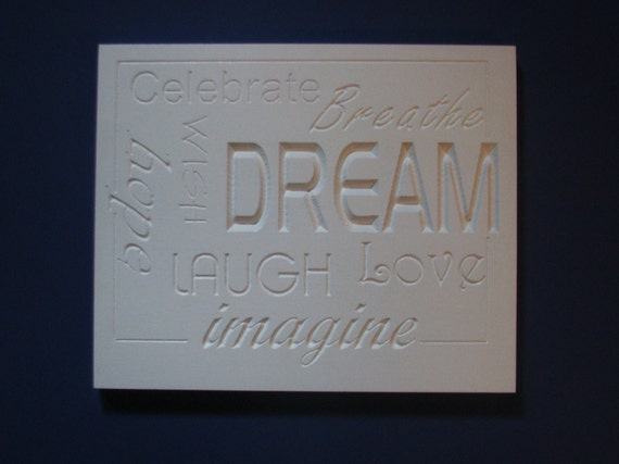 word wall art home decor in white with carved inspirational