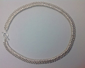 Sterling Silver Kingscale Chainmaille necklace