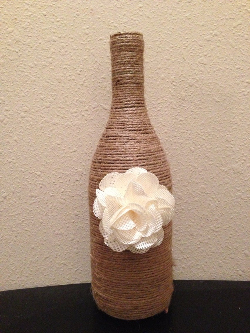 Twine wrapped Wine bottles ~ One Crazy Ride |Twine Covered Wine Bottles