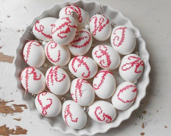 Embroidered REAL easter eggs: INITIAL in red