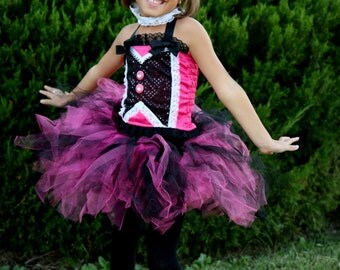 Boutique custom handmade pageant girls Monster High Draculaura tutu, corset costume