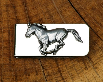 Horse Galloping Money Clip Mens Engraved Gift
