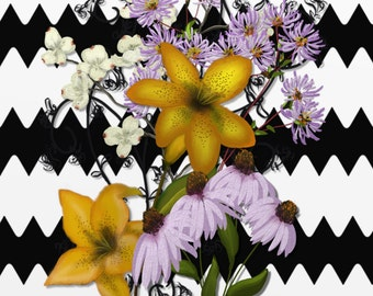 """Floral painting print, Original digital painting """"Summer on Black and White ZigZag""""  A floral painting with a graphic background."""