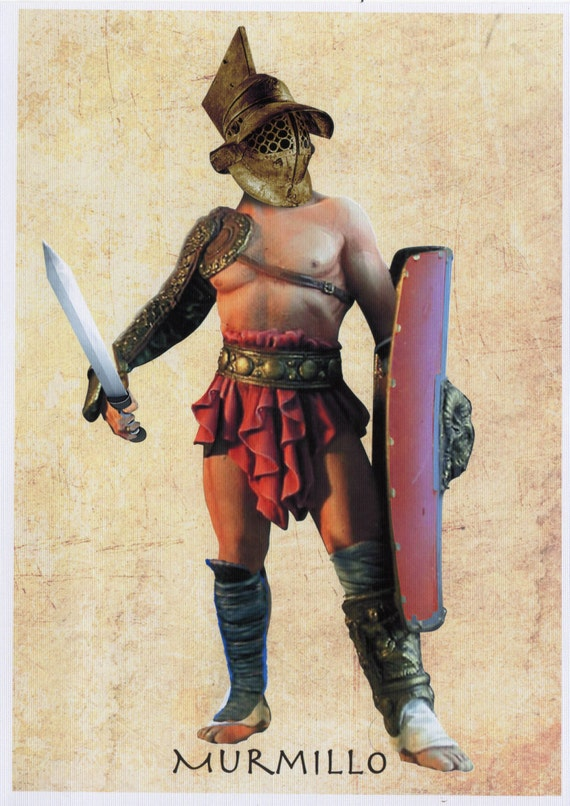 murmillo ancient roman gladiator a5 a4 canvas paper art