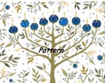 Hanukkah Menorah. Cross Stitch Pattern. PDF Files.