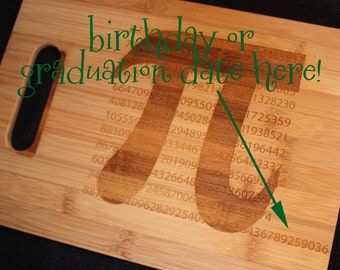 Personalized Pi Numeric Cutting Board Math Numbers Gift for Graduation Student Teacher Kitchen Art Numerical Birthday University Geekery