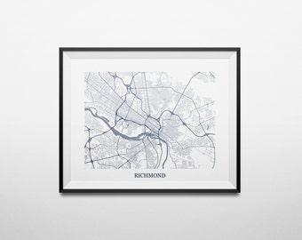 Richmond, Virginia Abstract Street Map Print