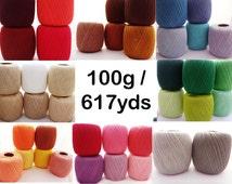 crochet cotton thread size 10, 100g x 616yds, 3ply, mercerized cotton yarn #10