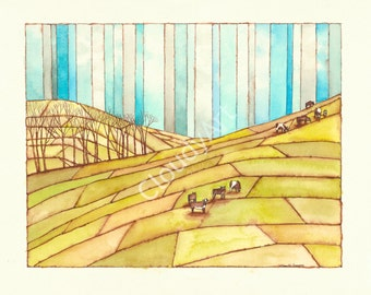 Sonoma Coast Cows Watercolor and Ink California Landscape - Giclee Print