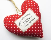Personalised 40th Birthday Age Gift - Fabric Heart Produced in Your Choice of Fabric. Supplied Gift Boxed