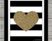 "Stripes & Glitter Heart, 8.5x11"" WALL Art, Glitter-Sparkle, Printable, Instant Download"