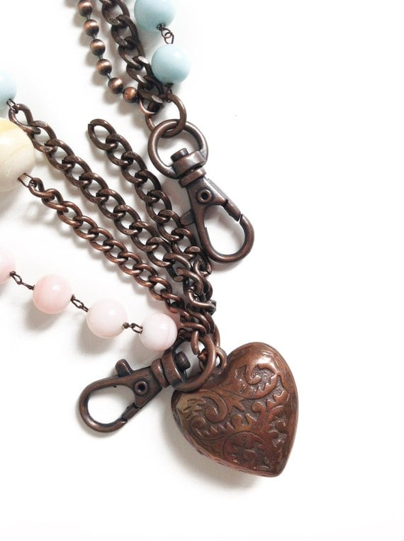 STONES WIRE NECKLACE with copper heart