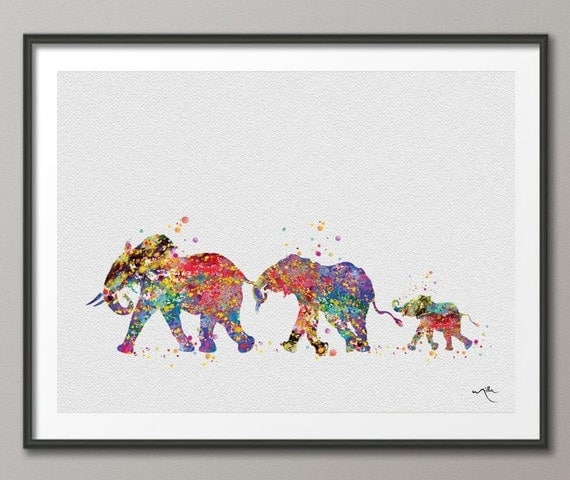 Elephant family mom dad and baby art print watercolor painting for Gifts for tattoo artist