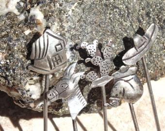 Vintage Maricela & AEM Sterling Silver Mexican Themed Hor Devour Picks
