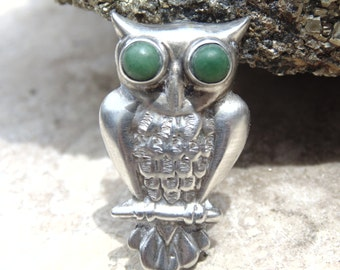 Horacio de la Parra Mexico Silver Owl with Green Stone Eyes