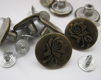"6 Metal Jeans Buttons 17mm (5/8"" inch)  Rose Flower Denim Jeans Tacks Buttons Hammer On"
