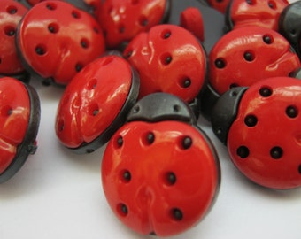 """10 Ladybird Buttons Ladybug Buttons 15mm  (5/8"""" inch) Insect Shank Clothing Buttons Childrens Knitting Sewing Crafts Embellishments"""