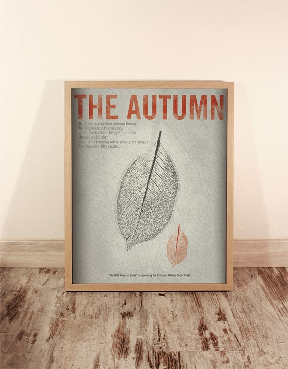 The Autumn. Wall decor art. Illustration. Digital print. Book. Poster. 15,75 x 19,69 inch