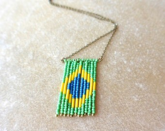 Long necklace brazilian flag with beads