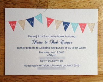 Letterpress Bunting Baby Shower, Invitations Only, set of 25