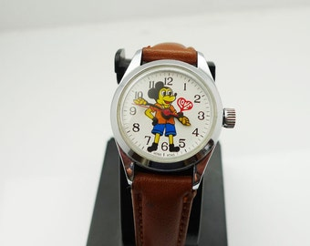 Mickey Mouse Gemex (Jason) 1970's Hong Kong 1 Jewel Ladies Manual Watch