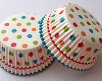 Sweet Polka Dot Cupcake Liners 50 count Baking Cups Lace Muffin Party Tools Supplies Food Craft Paper Blue White Red