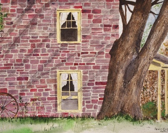 """Watercolor painting, art and collectibles,""""It's MISPLACED WHEEL"""",original watercolor painting, farm house, scenic, counter scene, serene"""