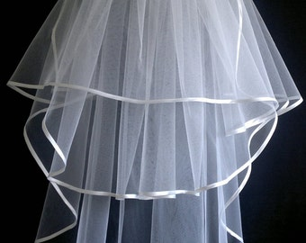 White Wedding Veil, Three Layers