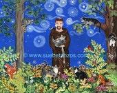 "St. Francis of Assisi with Kitties, Cat Art, Confirmation Gift, Graduation Gift, Catholic Art, Pet Portrait, 8"" x 10"" Digital Print"