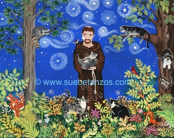 "St. Francis of Assisi with Kitties, Cat Art, Confirmation Gift, Graduation Gift, Catholic Art, Pet Portrait, 8"" x 10"" Digital Print"