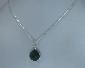 Sale, Green Emerald Quartz Pendant Necklace, May Birthstone
