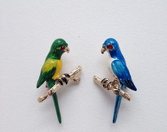 Vintage PARROT Brooches Pins Set of 2 Duette Enamel Red Garnet Rhinestones Figural