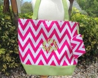 Monogram Chevron Beach Bag/Tote - Personalized - 13 Different colors - Perfect for Graduations,  Birthdays, Brides, Bridesmaids gifts