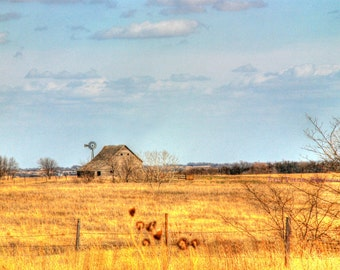 Barbwire Fence Post and Aged Wooden Barn Print with Nebraska Windmill.  Fine Art Landscape Scenic Photography.